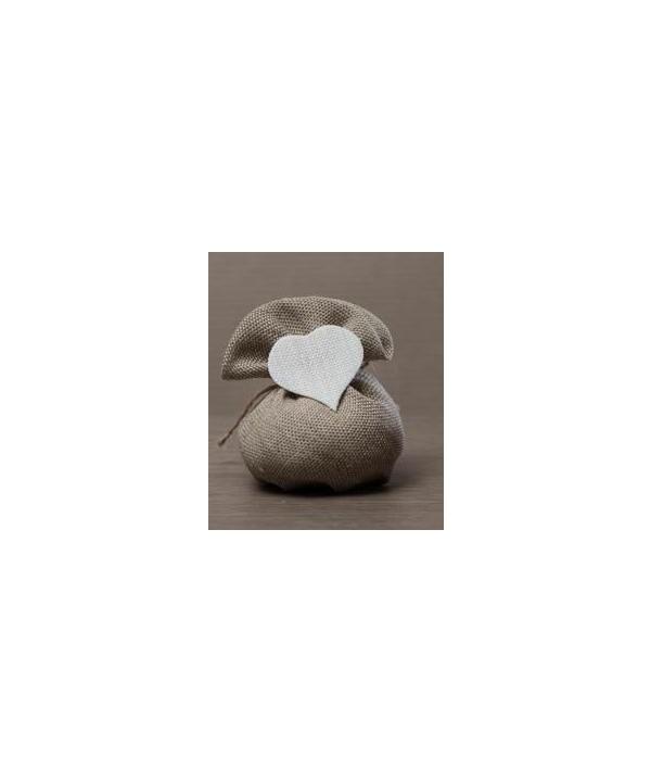 Sacchetti in Juta beige con cuore bianco Conf. da Pz.10