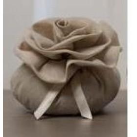 Sacchetti in Lino beige cm. 10 * 4 con rosa