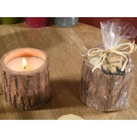 Candela profumata in vasetto a tronco con sacchetto regalo 14.12.80